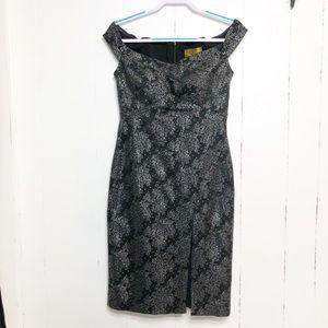 Nicole Miller Black Silver Off Shoulder Dress
